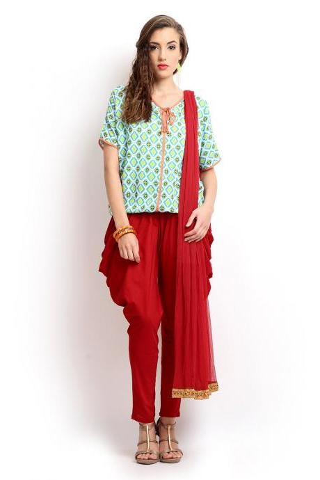 Women Red Jodhpuri Pants & Dupatta Set