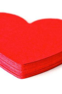 Red Heart paper die cuts . paper shapes scrapbook embellishments . 40ct . gift tags . card making . Valentines.