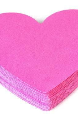 Heart Die cuts - Bubble Gum Pink. 25 piece set. Scrapbooking - crafts - embellishment - tag - gift wrap - gift tag - raspberry - love