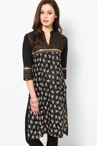 Women Black Printed Kurta
