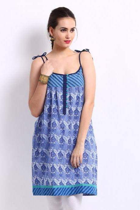 Women Blue Printed Kurta