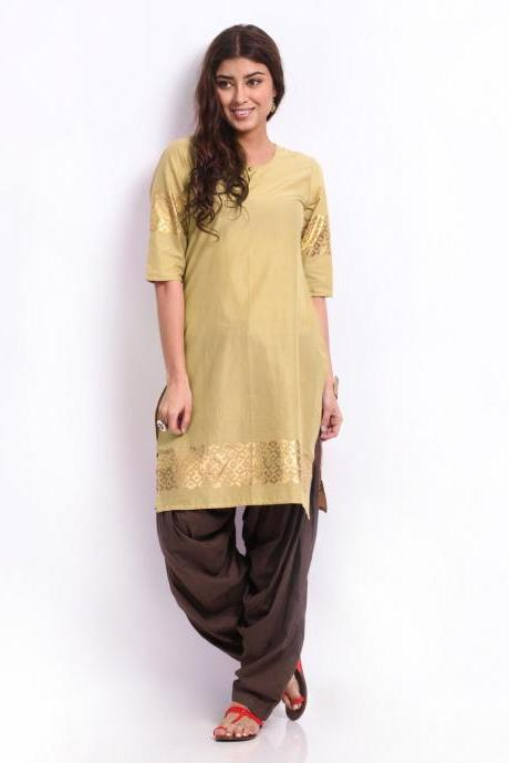 Women Beige Kurta & Brown Patiala Pants Set