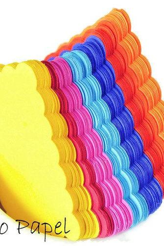 35 Scalloped Rectangle punches. 2 by 1 inch. Rainbow colors
