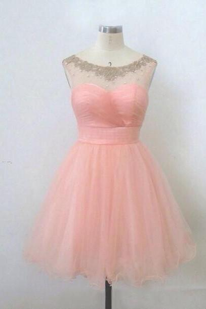 Cute Transparent Pearl Pink Ball Gown Round Neckline Mini Prom/Graduation/ Homecoming Dress
