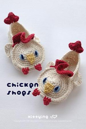 Chicken Rooster Cockerel Cock Toddler Booties Crochet PATTERN PDF - Chart & Written Pattern by kittying