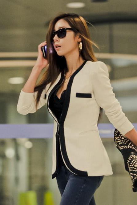 Chic Black and White Slim Fit Blazer Coat