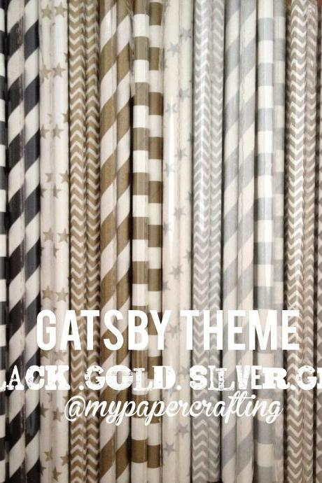 Drinking Paper Straw in black, silver, gold and grey Gatsby theme