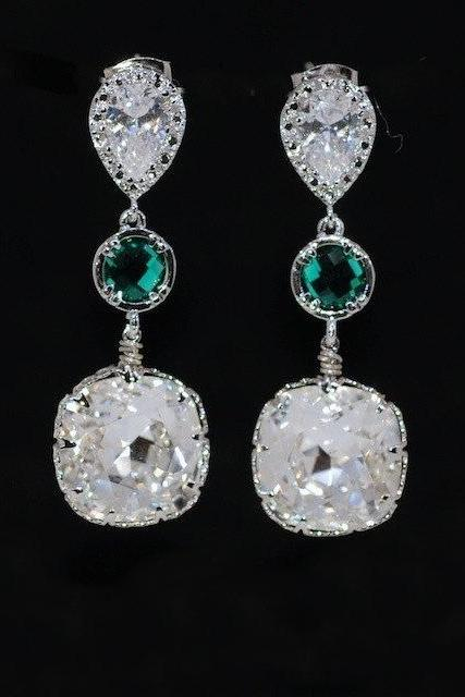 Cubic Zirconia Teardrop Earrings with Emerald Green Round Glass Quartz, Swarovski Square Clear Crystal (E549)