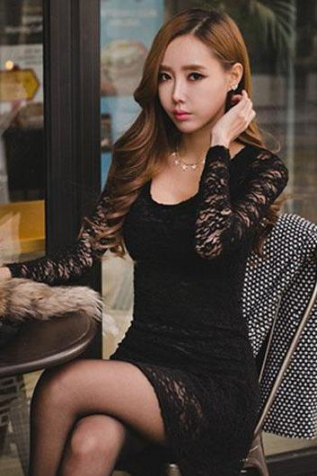 Alluring Hollow Sleeve Scoop Design Lace Dress - Black
