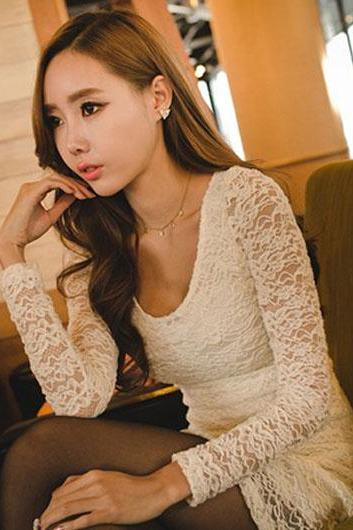 Alluring Hollow Sleeve Scoop Design Lace Dress - White