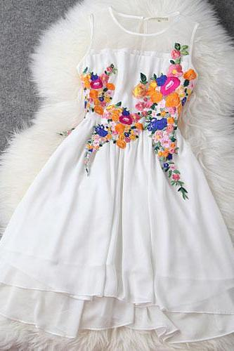 Colorful Flower Embrodiery See Through Tank Top Chiffon Dress [grxjy560965]