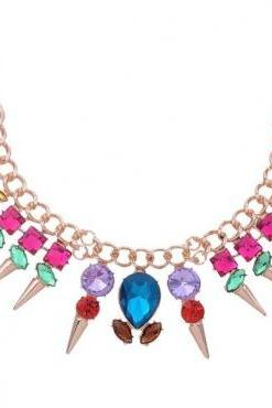 Free Shipping Beautiful Multi Colored Statement Necklace