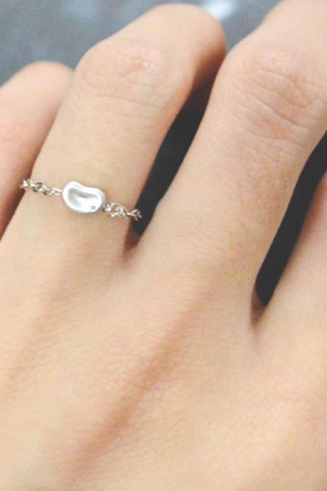 E-052 Mini bean ring, Chain ring, Cubic ring, Simple ring, Modern ring, Silver plated ring/Everyday/Gift/