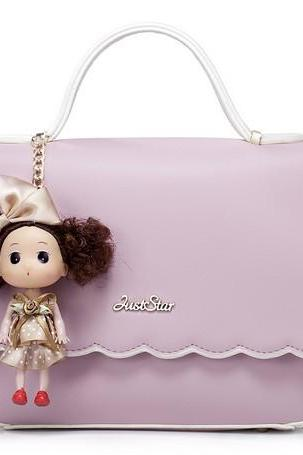 Cute Purple Doll Charmed Hand Bag