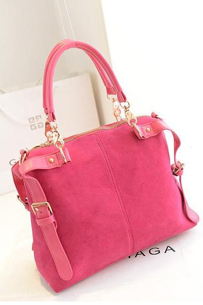 Lovely Pink Matte Leather Fashion Hand Bag in Rose