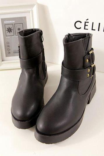 Black Buckle Design Chunky Heel Fashion Boots