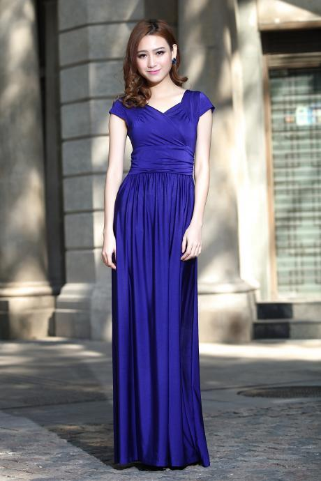 Cap Sleeve Long Formal Prom Dresses Party Bridesmaid Evening Gowns Royal Blue