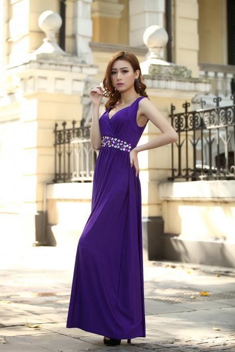 Cadbury Purple Bridesmaid Dress Formal Cocktail Bead Prom Party Evening Maxi Dress Plus sizes Evening Cocktail Dress Ball Gowns