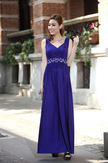 Royal Blue Formal Cocktail Bead Prom Party Evening Maxi Dress Bridesmaid Gown Plus sizes bridesmaids Evening Cocktail Dress Ball Gowns