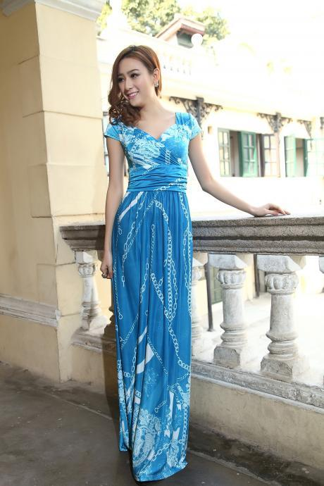 Blue Cap Sleeves Summer Bohemia Style Maxi Dress Holiday Beach Dress Plus sizes Available Chain Design US 6/8