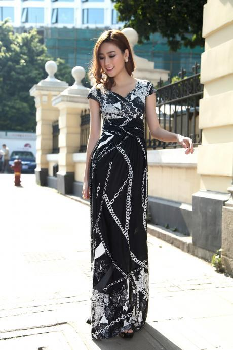 Black Cap Sleeves Summer Bohemia Style Maxi Dress Holiday Beach Dress Plus sizes Available Chain Design
