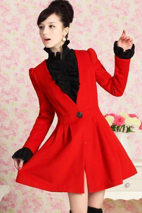 Red Puff Sleeve Long Coat