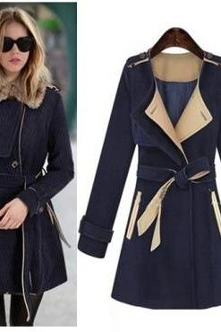Blue Double Breasted Trench Coat