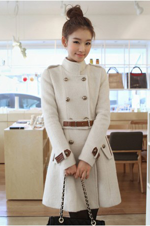 Mandarin Collar Double Breasted Beige Coat