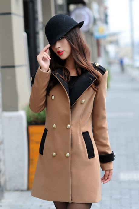 V Neck Double Breasted Brown Coat