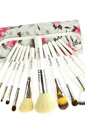12 pcs Cosmetic Makeup Brushes Set Kit with Flower Print Pouch [grzxy62200014]