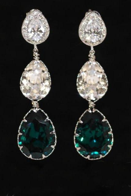 Cubic Zirconia Teardrop Earring with Swarovski Clear Teardrop and Emerald Green Teardrop Crystals - Wedding Jewelry, Bridal Earrings (E556)