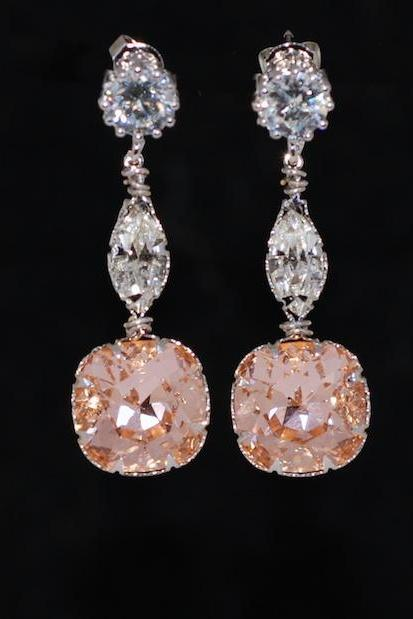 Round Cubic Zirconia Earrings with Swarovski Clear Navette and Light Peach Cushion Cut - Wedding Jewelry, Bridal Earrings (E645)