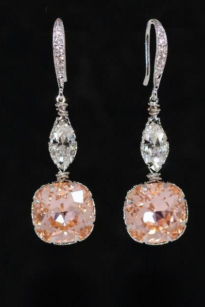 Cubic Zirconia Detailed Earring Hook with Swarovski Clear Navette and Light Peach Cushion Cut - Wedding Jewelry, Bridal Earrings (E642)