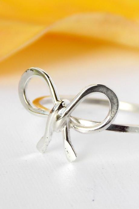 Forget Me Knot Bow Ring--Sterling Silver, friendship ring, silver ring, bow ring, dainty ring, petite ring, friendship ring, knot ring