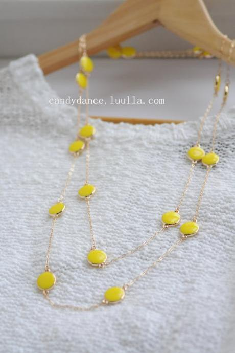 Yellow Candy Bead Long Necklace