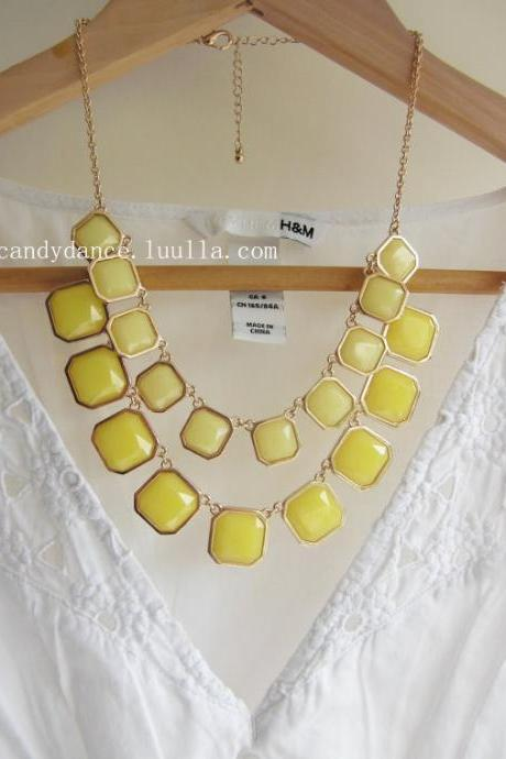 Lemon and Yellow Square Blink Acrylic 2-Layer Collar Necklace