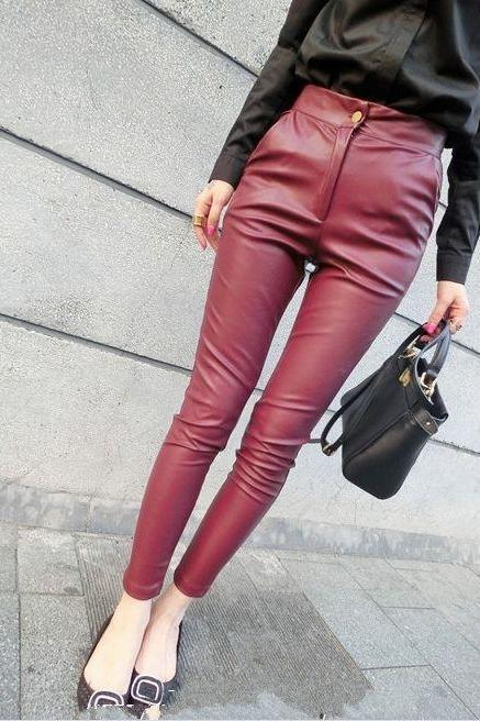 Wine Red Slim Fit Leggings