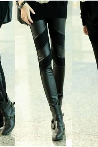 Chic Design Bandage Style Black Fashion Leggings
