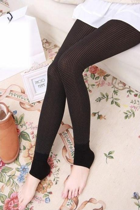 Dots Design Color Block Slim Fitted Leggings