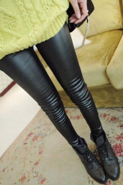 Slim Fitted Black PU Long Leggings