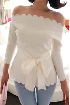 White Scallop Detailed Off-The-Shoulder Long Sleeved Blouse Featuring Bow Accent Waist