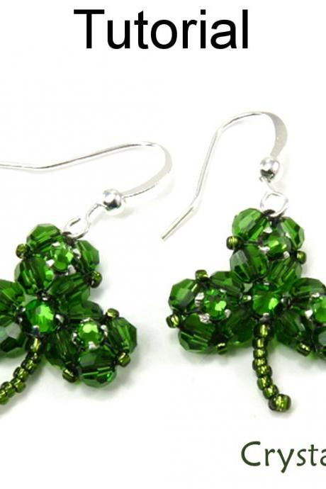 Beading Tutorial Pattern Earrings Necklace - St. Patrick's Day Jewelry - Simple Bead Patterns - Crystal Clover #4929