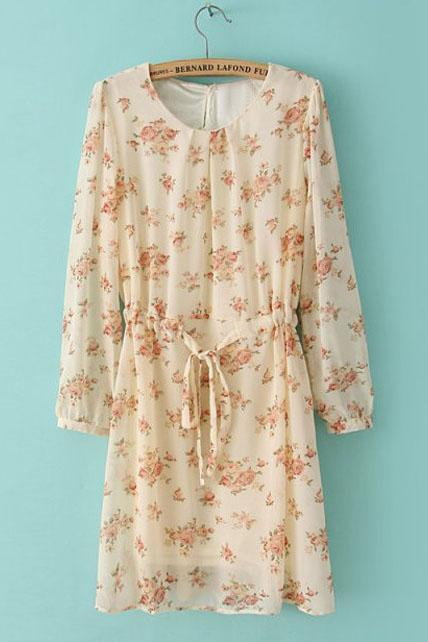 Cute A Line Long Sleeve Chiffon Floral Dress