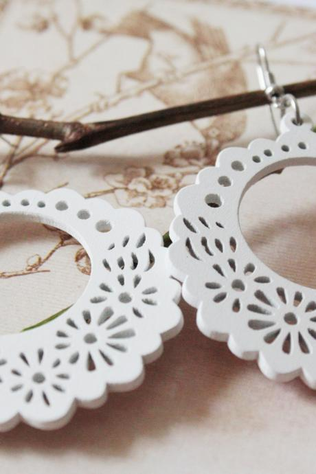 White Land of Dream Laser Cut Wood Earring