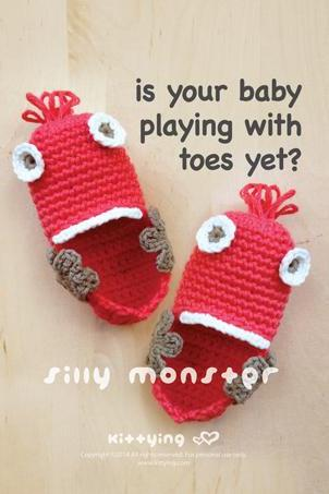 Is your baby PLAYING with TOES yet? Silly Monster Baby Booties Crochet PATTERN, PDF by kittying
