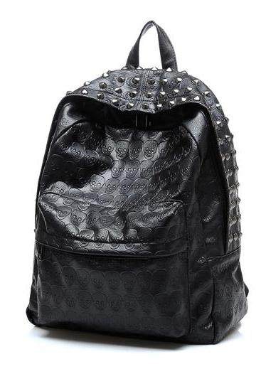 Leather Black Skull Rivets Backpacks