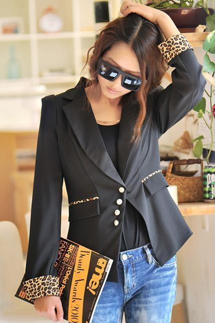 Chic Black withe Leopard Print Blazer