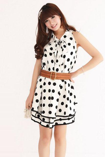 Lovely Sleeveless Polka Dots Print Layered A Line Dress - Pure White