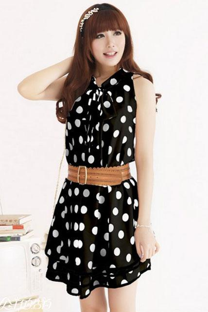 Lovely Sleeveless Polka Dots Print Layered A Line Dress - Black
