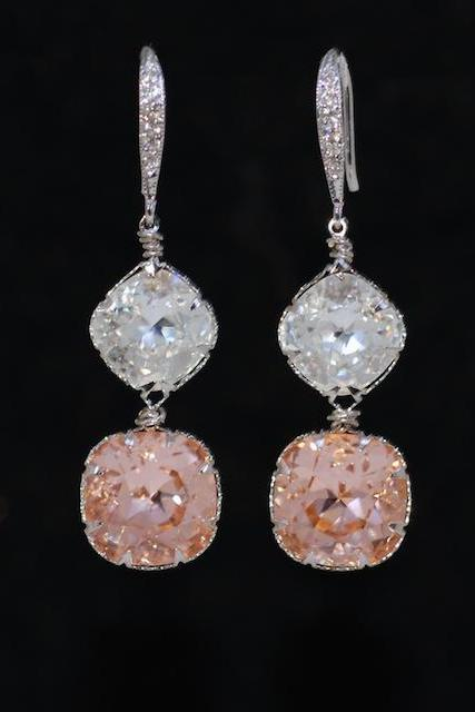 Cubic Zirconia Detailed Earrings Hook with Swarovski Clear and Light Peach Cushion Cut - Wedding Jewelry, Bridal Earrings (E647)